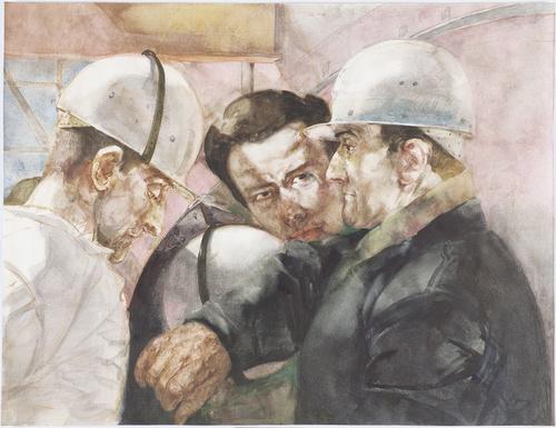 Werner Tu_bke, Drei Bauarbeiter (Studie zu Arbeiterklasse und intelligenz) 1970, Aquarell-MAIL