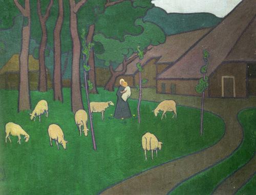 Landschap met boerderij Drenthe (1894) Simon Moulijn
