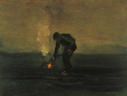 Onkruid verbrandende boer (1883) Vincent van Gogh Collectie  Drents Museum Van Gogh Museum
