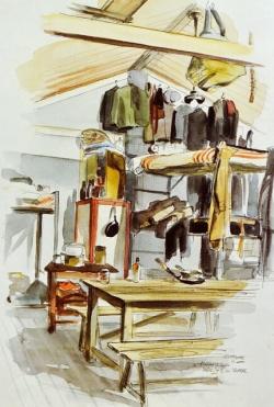 Barakinterieur met stapelbedden (z.j.) Leo Kok