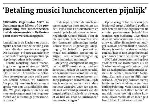 Betaling Musici SPOT Dagblad van het Noorden