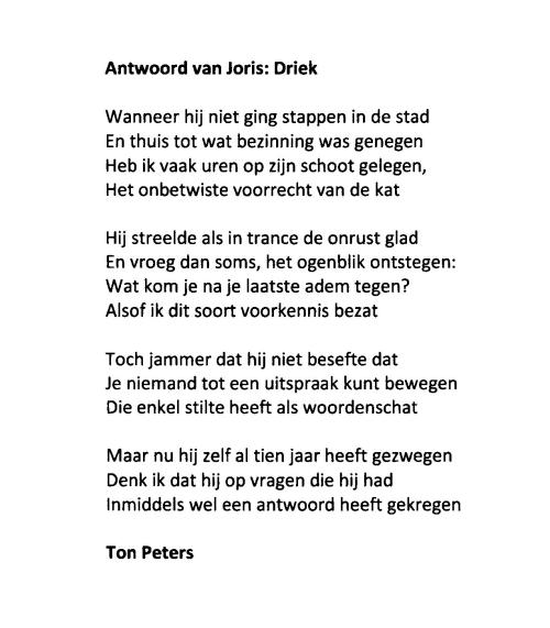Antwoord van Joris Driek Ton Peters